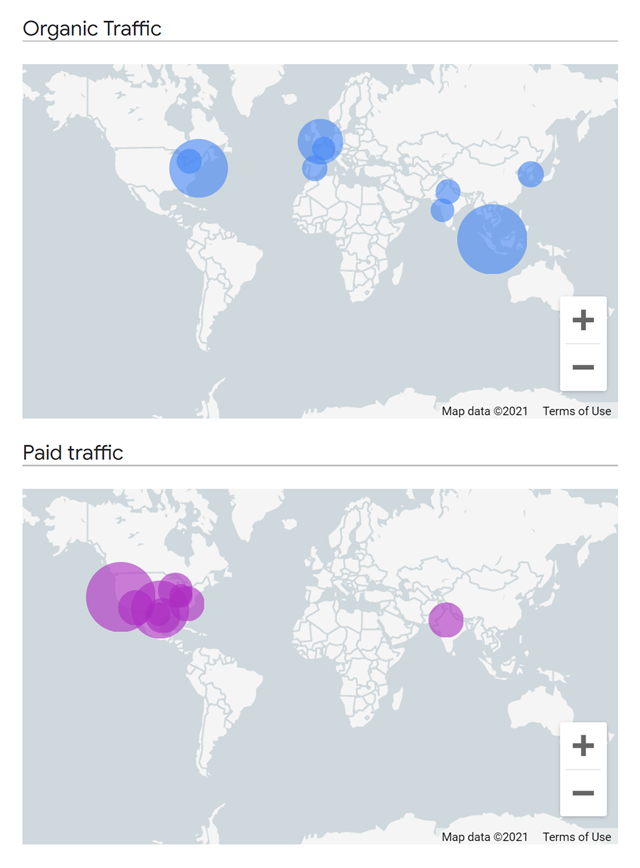 Geographical map comparison in Google Analytics 4