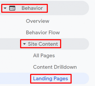 Analytics - Landing Page - Side Menu