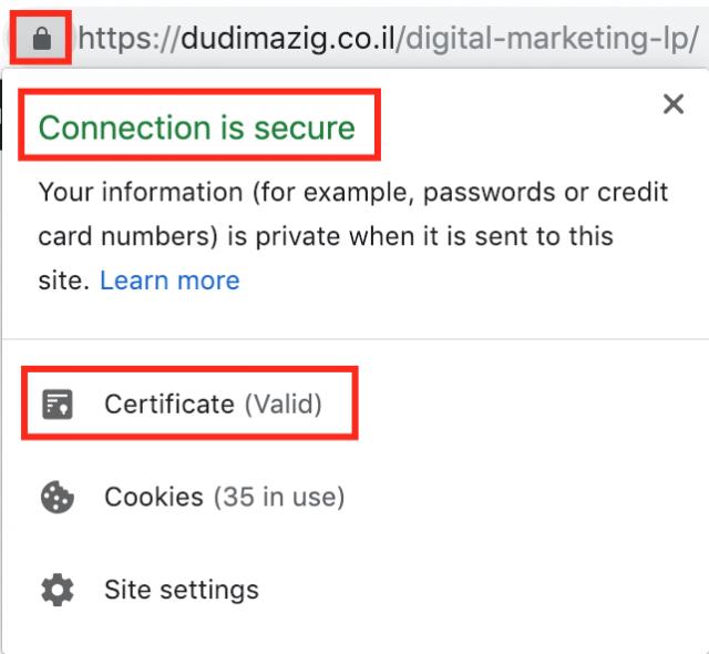 Checking SSL certificate
