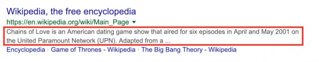 Meta description on google serps
