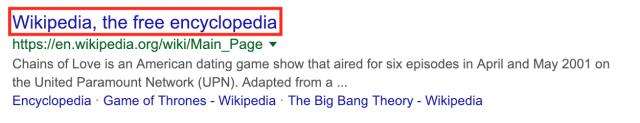 Meta title on google serps