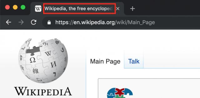 Meta title on the web browser