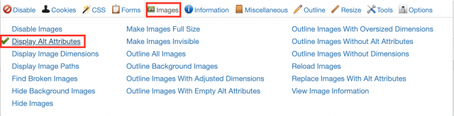 Web developer tool - showing Alt attributes